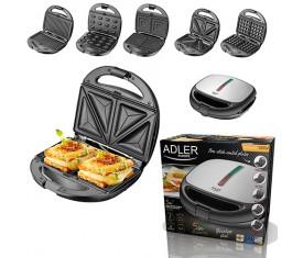 Мультипекарь Adler AD 3040 5 in 1орешница, вафельница, гриль, сендвичница, форма для печенья